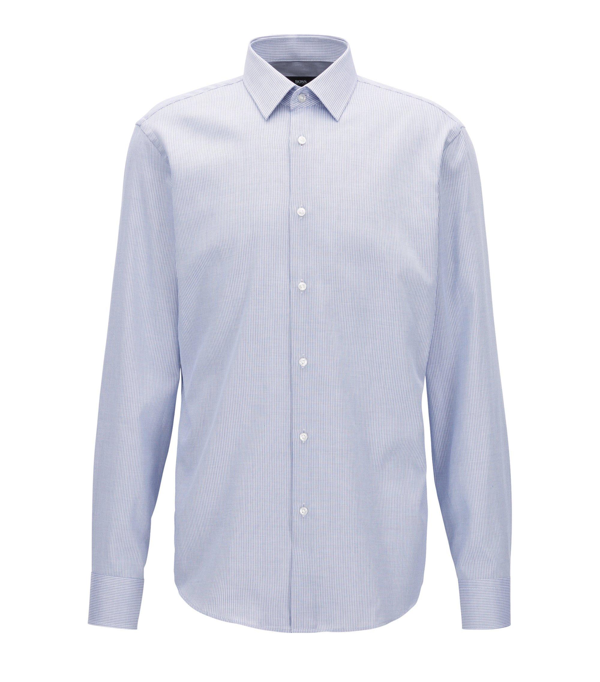 Regular-fit overhemd van dobbykatoen, Blauw