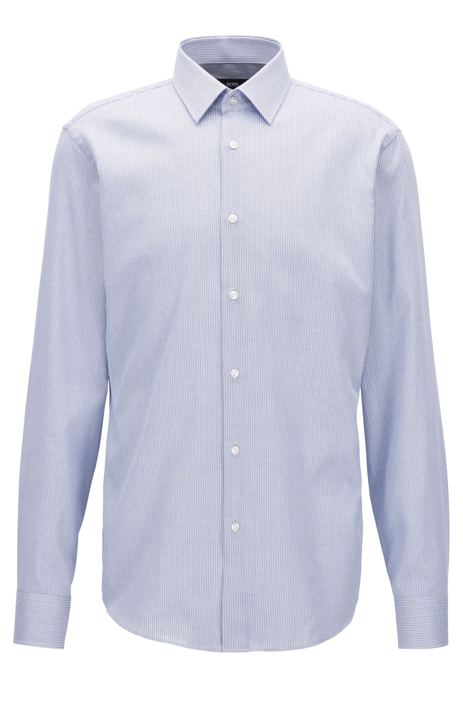 Camicia regular fit in cotone dobby