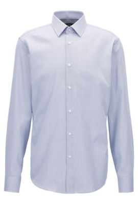 Camicia regular fit in cotone dobby, Blu