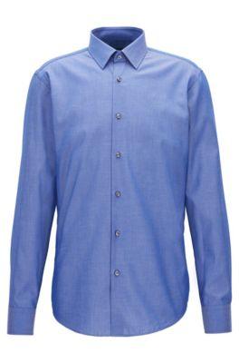 Chemise Regular Fit en chambray de coton à pois , Bleu