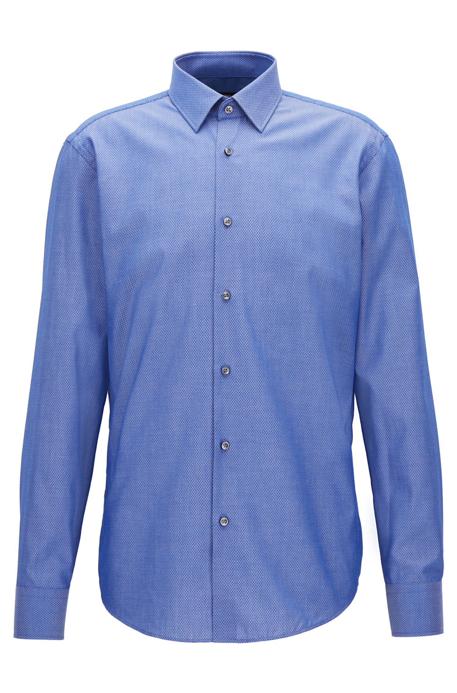 Regular-fit dotted cotton chambray shirt