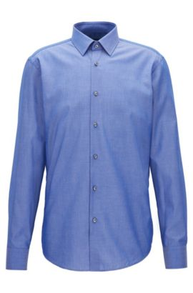 Regular-Fit Hemd aus strukturiertem Chambray , Blau