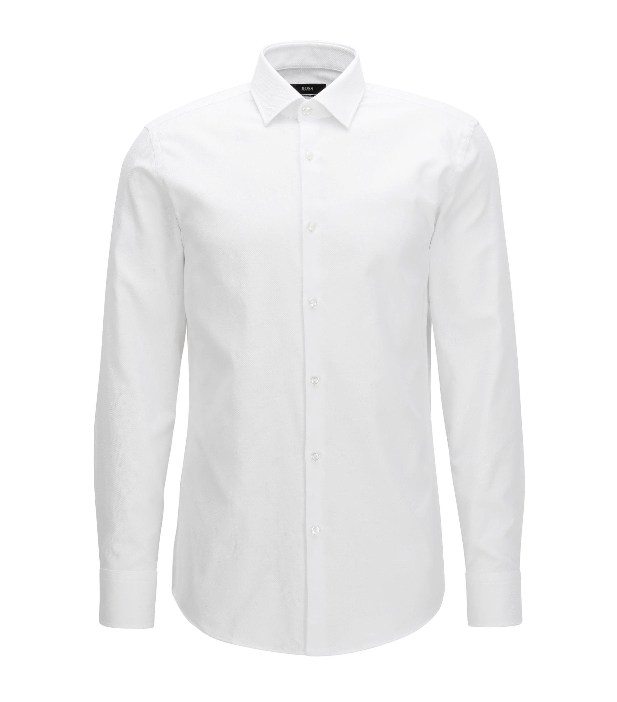 Camicia slim fit in pregiato cotone, Bianco
