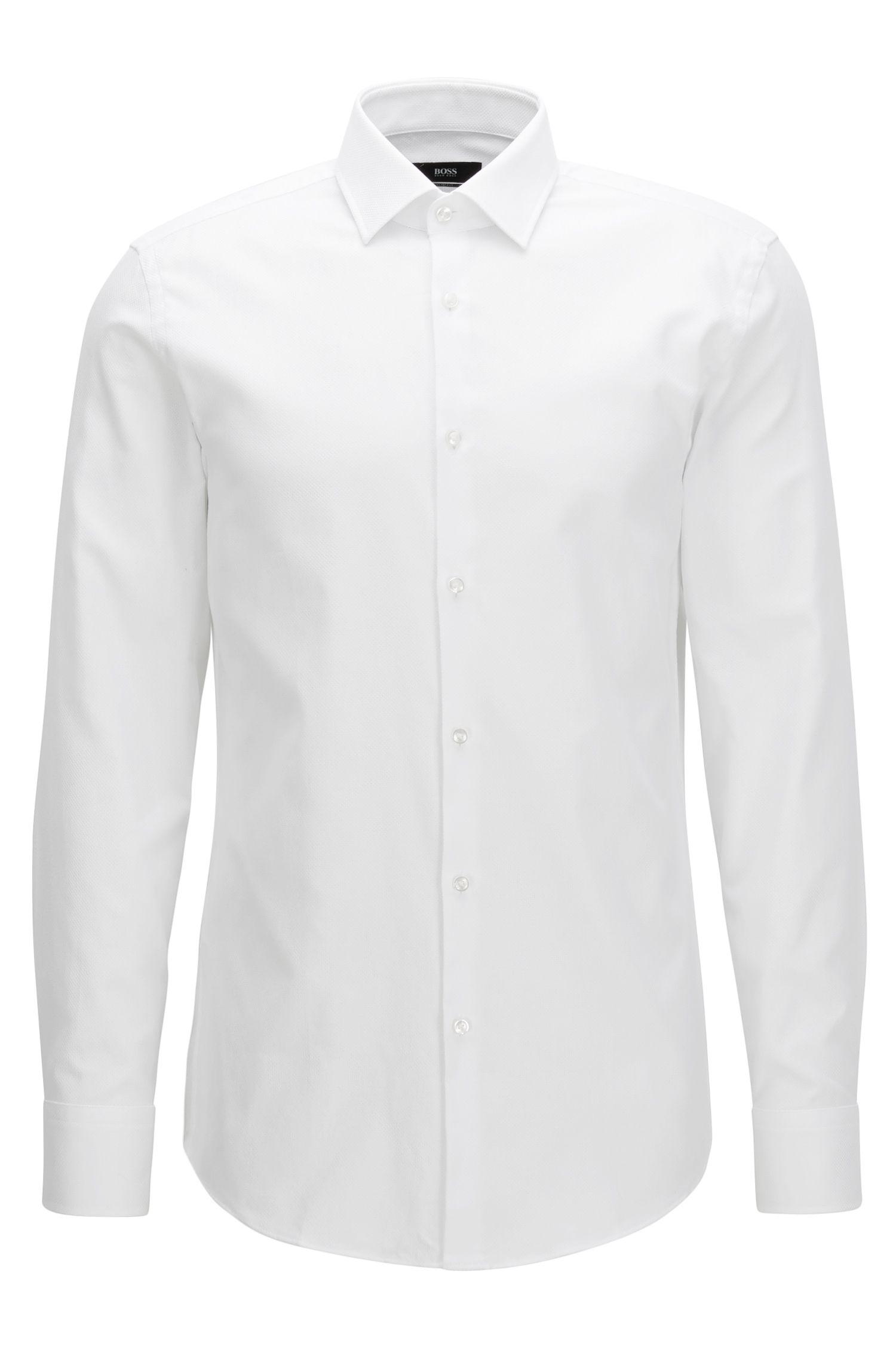 Slim-fit overhemd van luxueuze katoen