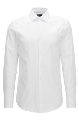Slim-Fit-Hemd aus reiner Baumwolle, Weiß