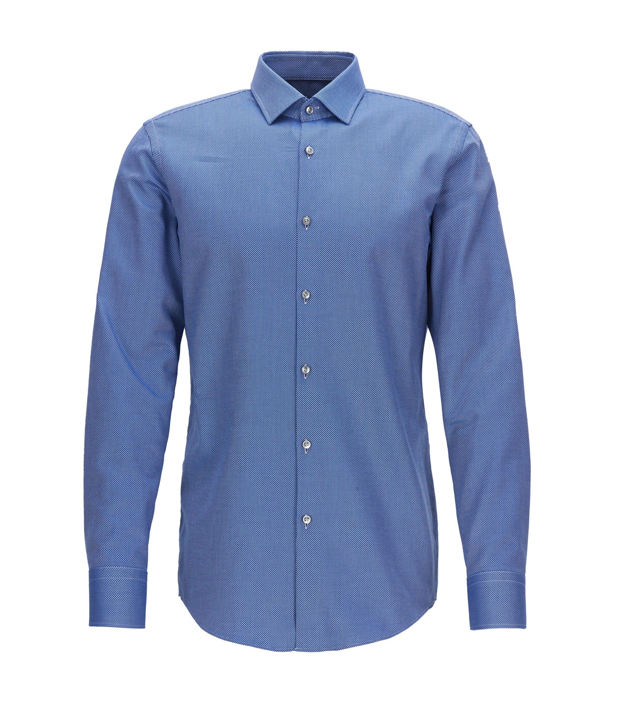 Slim-fit shirt in rich cotton, Blue
