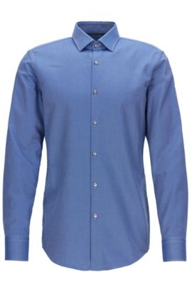 Camicia slim fit in pregiato cotone, Blu