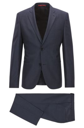 Driedelig extra slim-fit kostuum van scheerwol, Donkerblauw