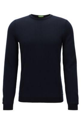 Jersey de escote redondo en lana virgen, Azul oscuro