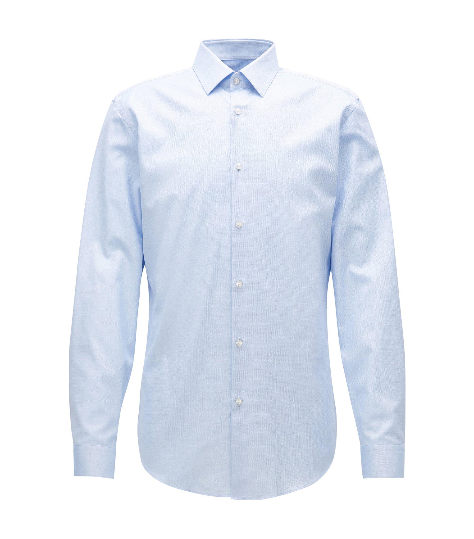 Slim-fit shirt in cotton poplin, Light Blue