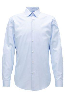 Slim-Fit-Hemd aus Baumwoll-Popeline, Hellblau
