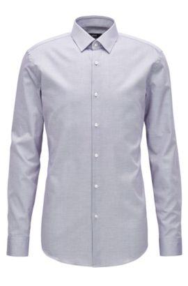 Camisa slim fit en popelín de algodón, Lila