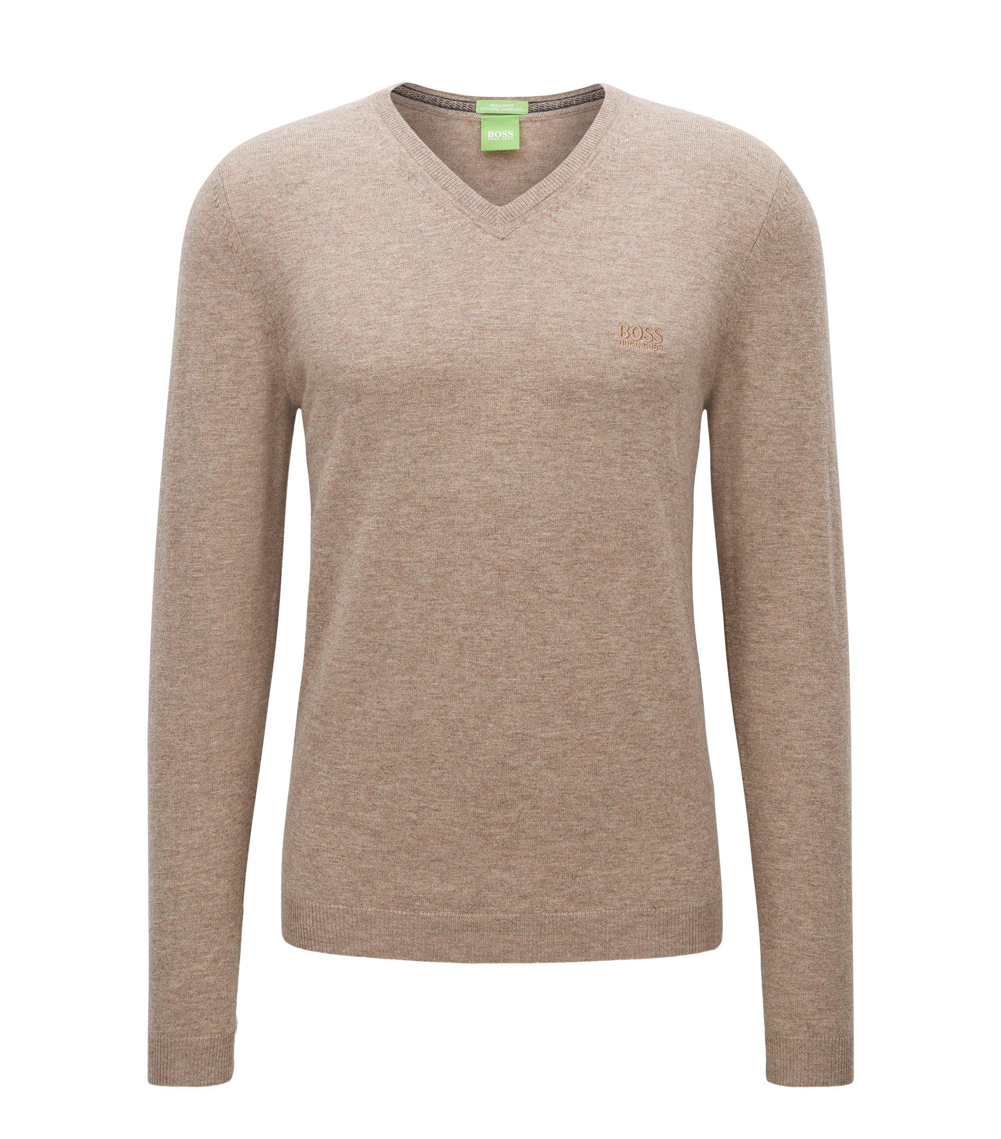Regular-Fit Pullover aus Schurwolle mit V-Ausschnitt, Beige