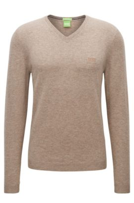 V-neck sweater in virgin wool, Beige