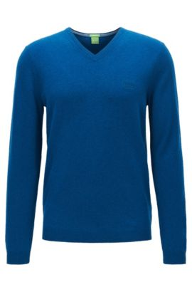Jersey con cuello en pico de lana virgen, Azul