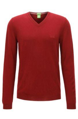 Regular-Fit Pullover aus Schurwolle mit V-Ausschnitt, Dunkelrot