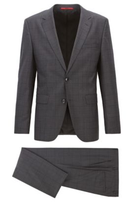 Mouline check stretch-wool suit in a regular fit, Anthracite