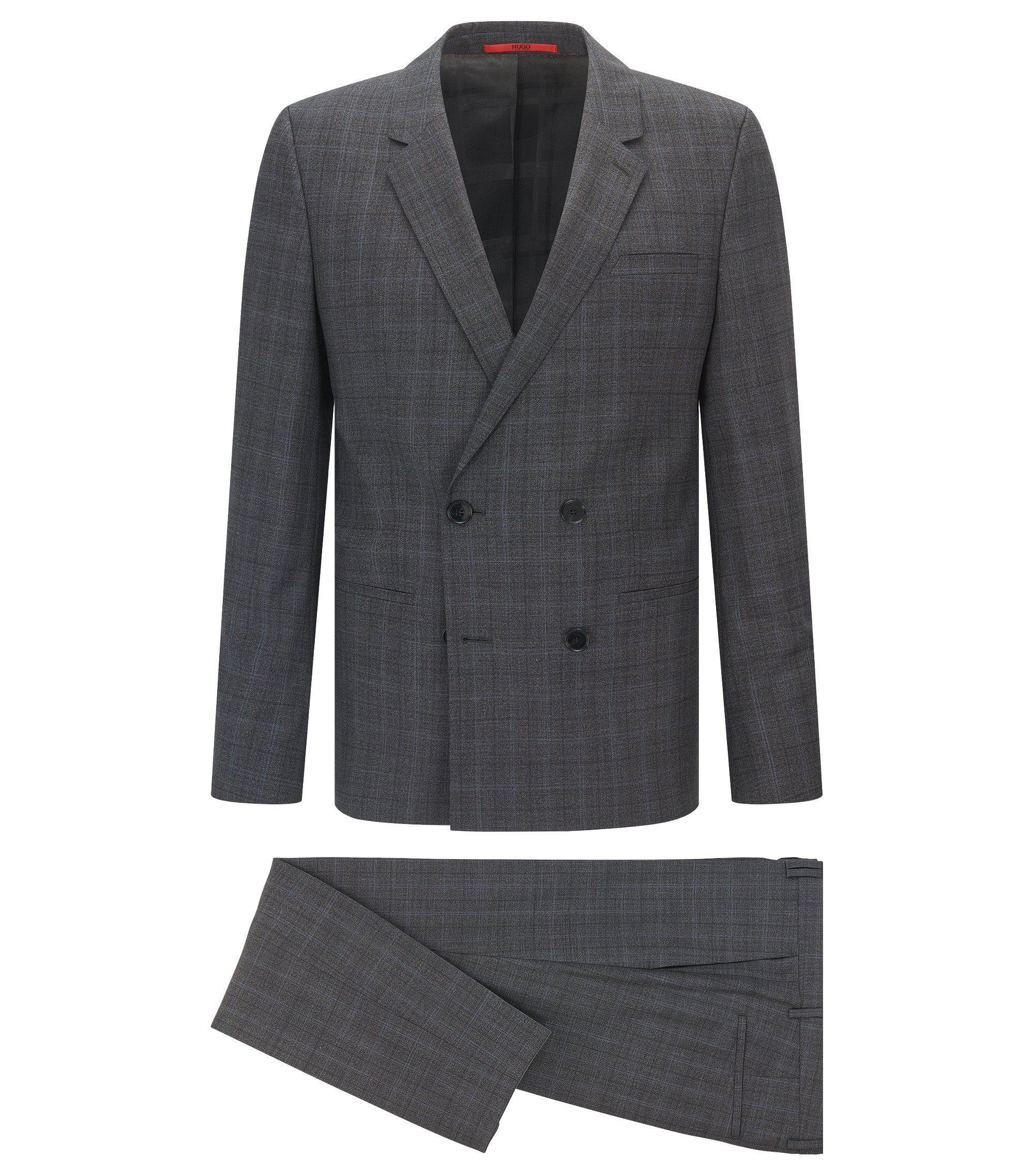 Extra Slim-Fit Anzug aus Mouliné-Schurwolle mit Fensterkaro, Grau