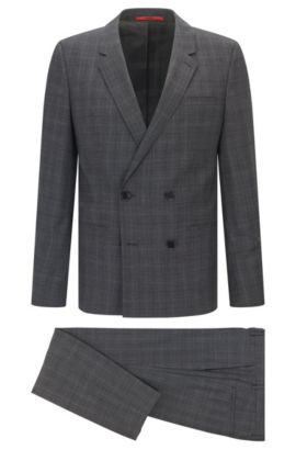 Extra-slim-fit windowpane suit in mouline virgin wool, Open Grey