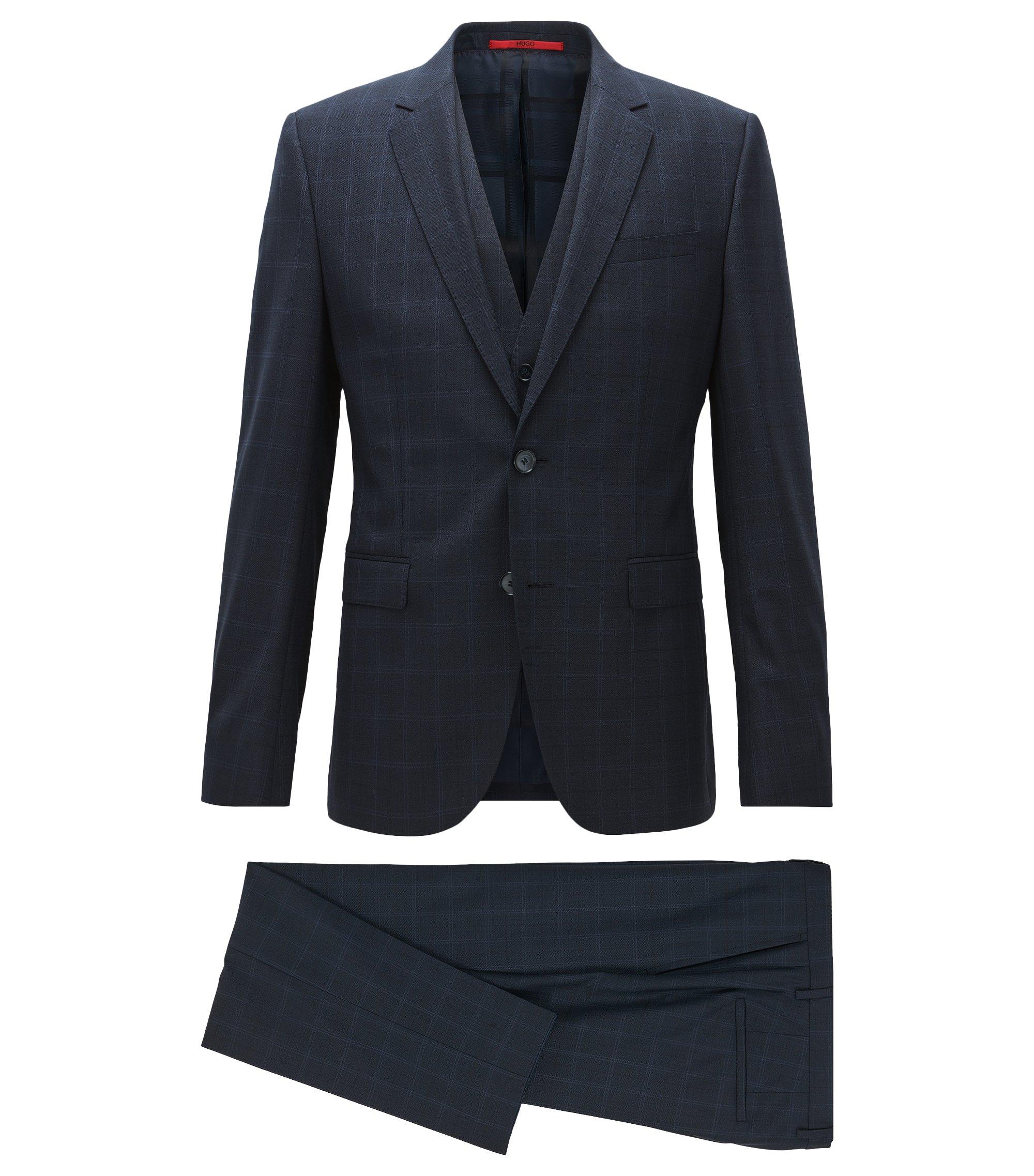 Driedelig extra slim-fit kostuum van scheerwol met klassieke ruiten, Donkerblauw