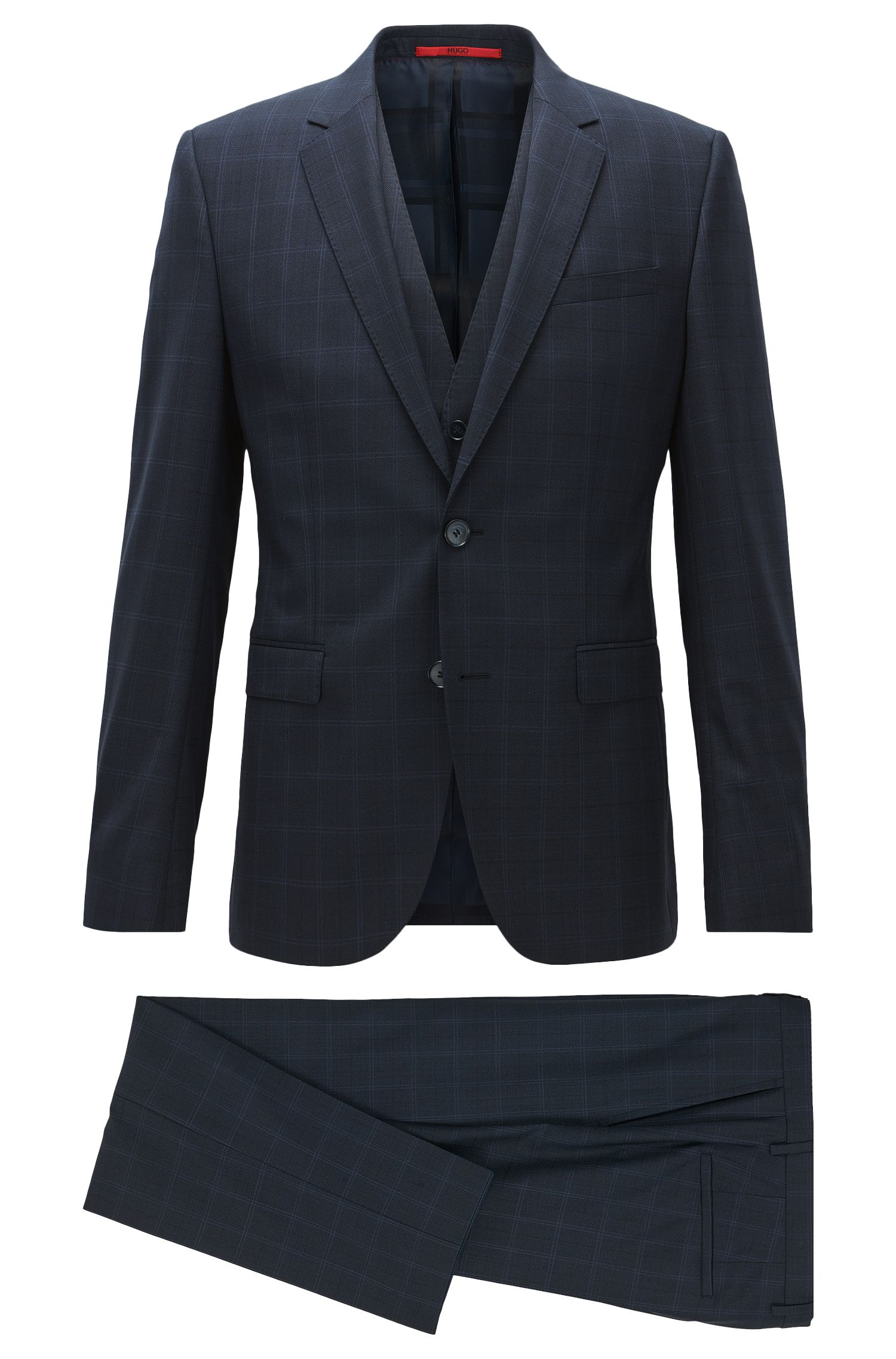 Windowpane extra-slim-fit three-piece suit in virgin wool