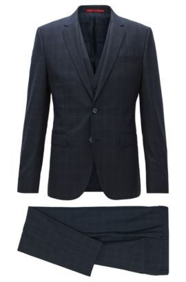 Windowpane extra-slim-fit three-piece suit in virgin wool, Dark Blue