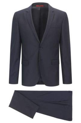 Extra-slim-fit suit in pinstripe virgin wool, Dark Blue