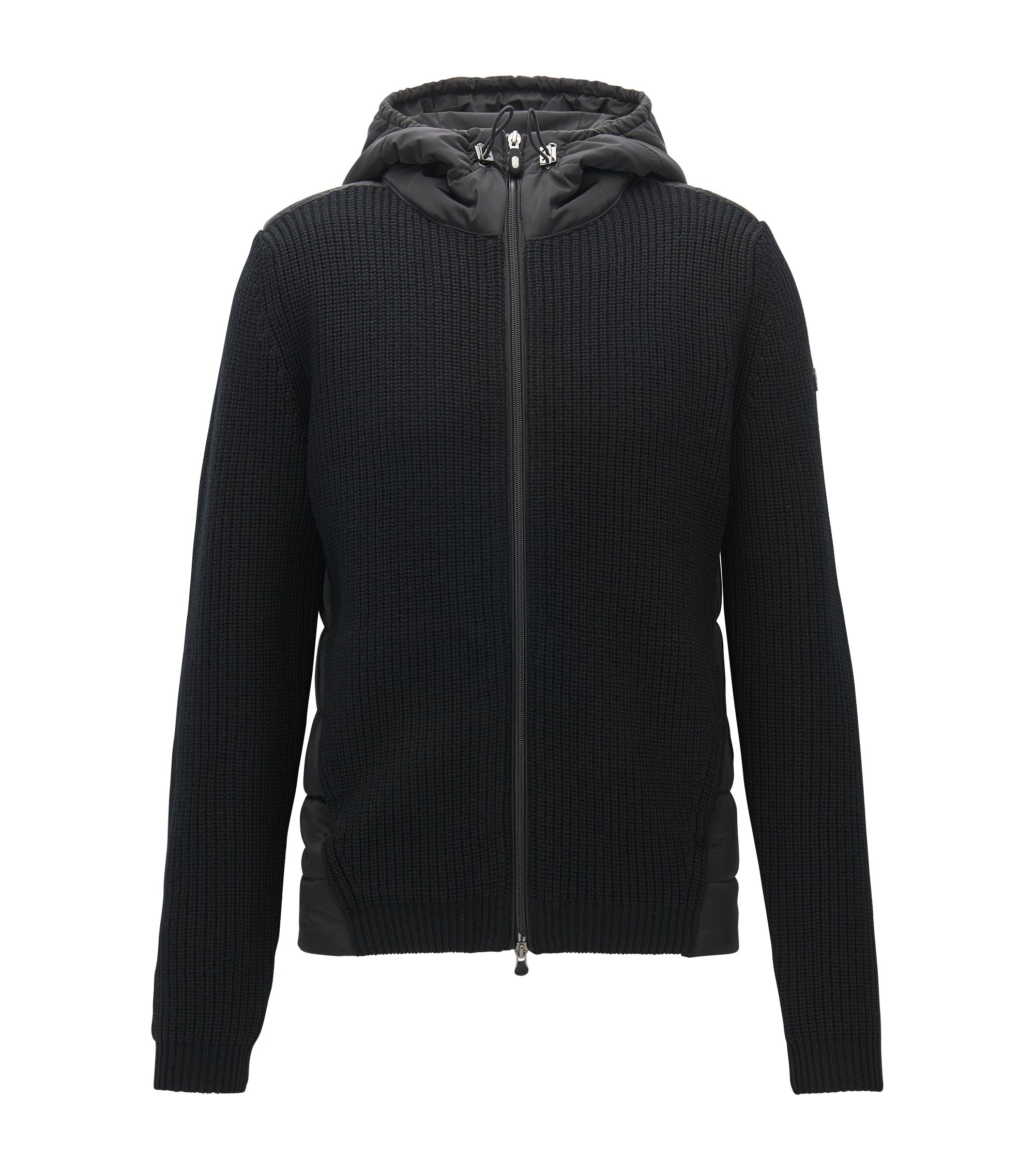 Regular-fit hooded jacket in a knitted and padded mix, Black