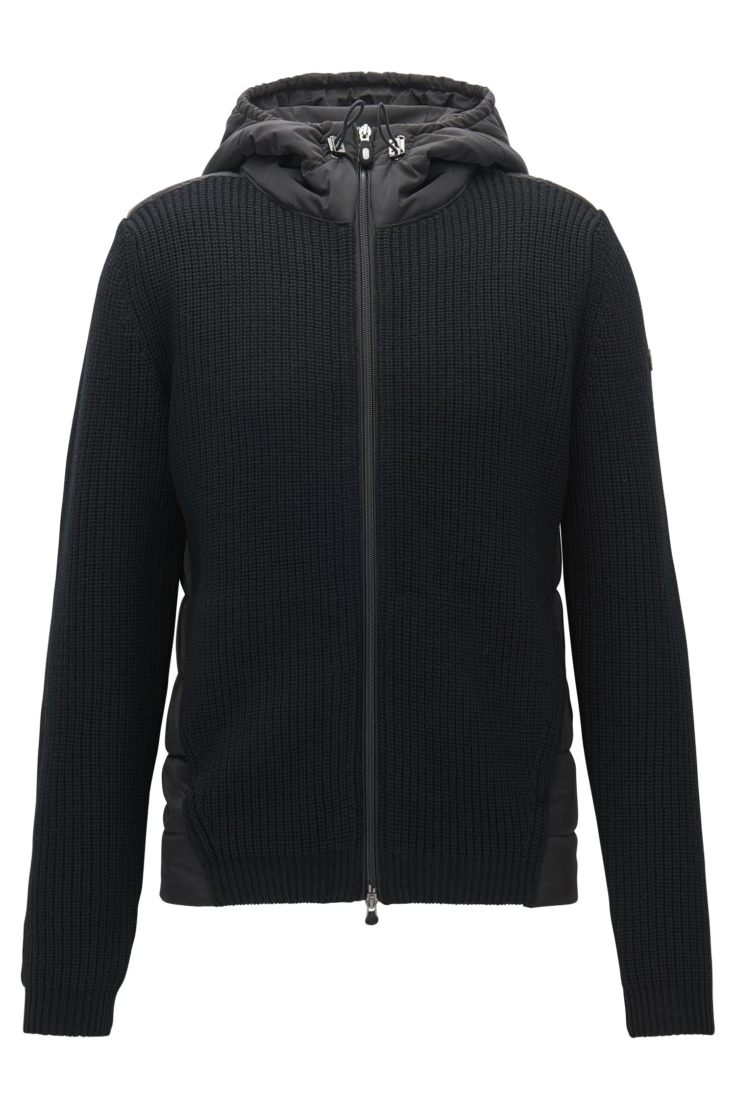 Regular-fit hooded jacket in a knitted and padded mix