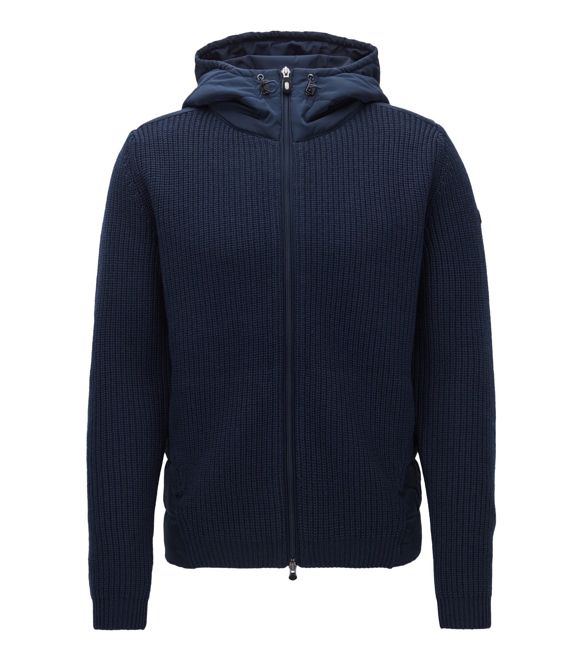 Regular-fit hooded jacket in a knitted and padded mix, Dark Blue