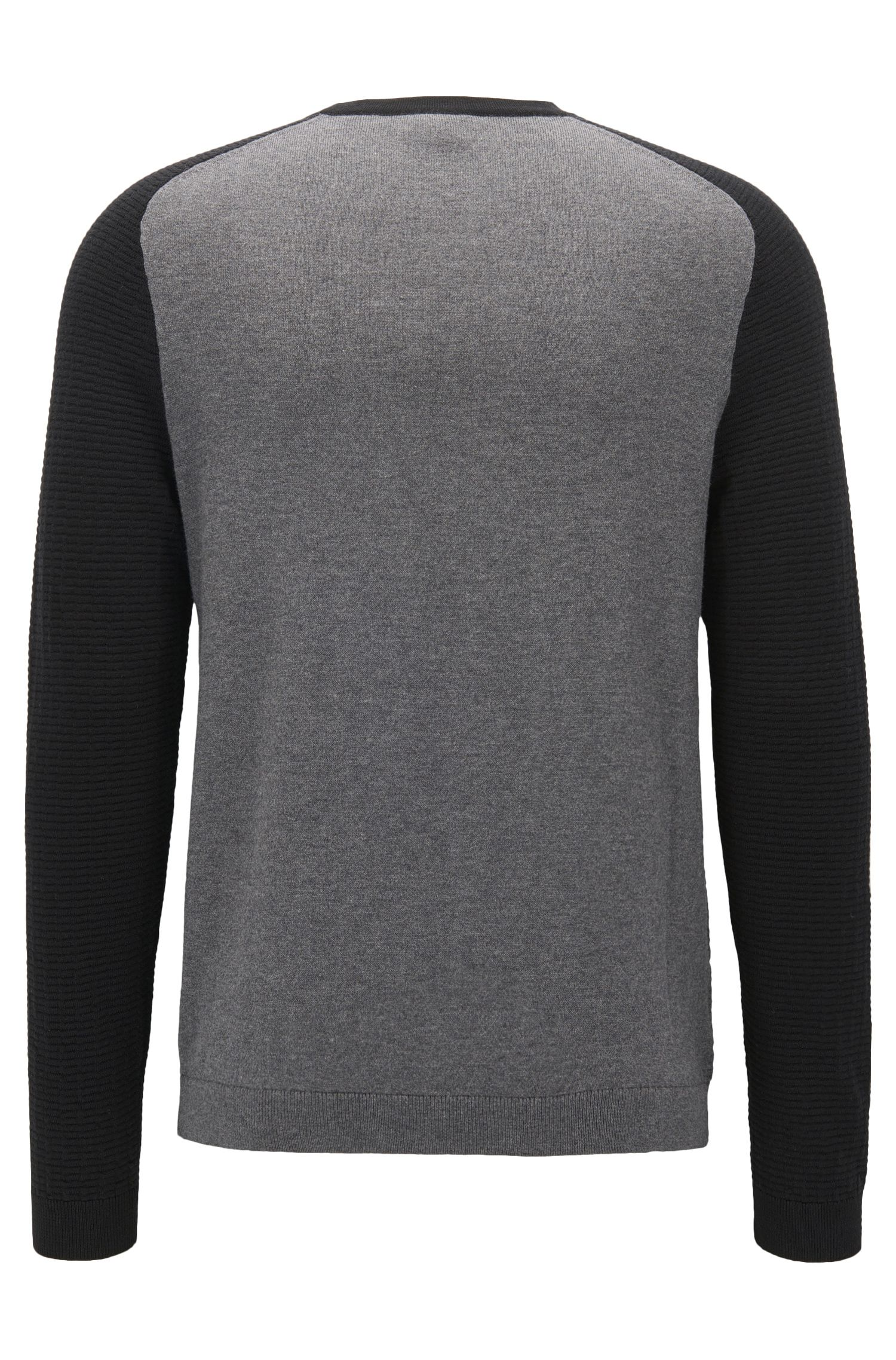 Regular-Fit Pullover aus Baumwoll-Mix im Colour Block Design, Grau