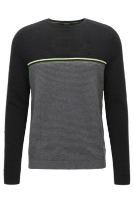 Regular-Fit Pullover aus Baumwoll-Mix im Colour Block Design, Grau