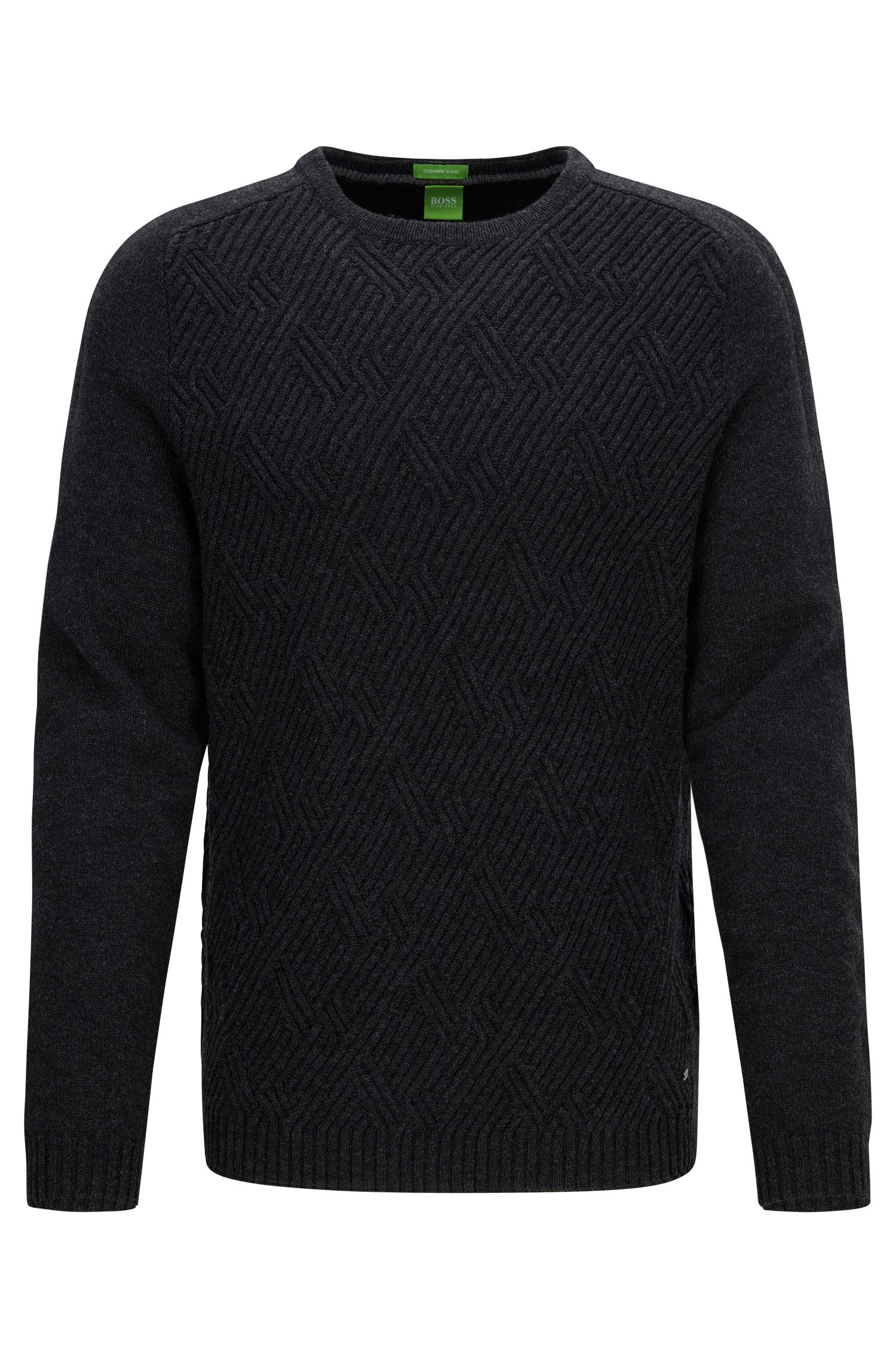 Crew-neck sweater with cable structure