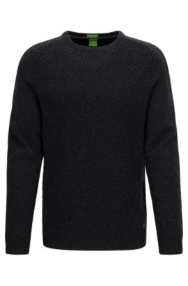 Crew-neck sweater with cable structure, Anthracite