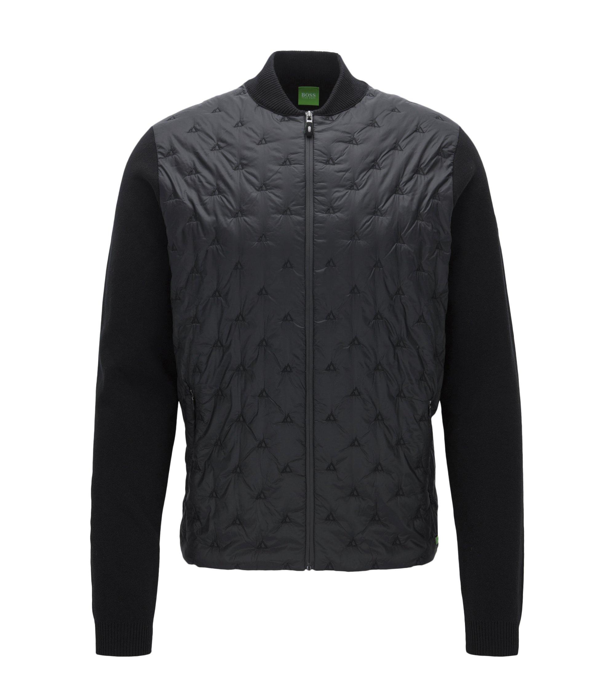Regular-fit embroidered panelled cotton-blend jacket, Black