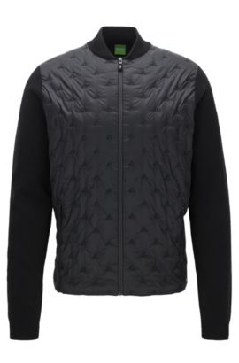 Regular-fit embroidered panelled cotton-blend jacket, Black