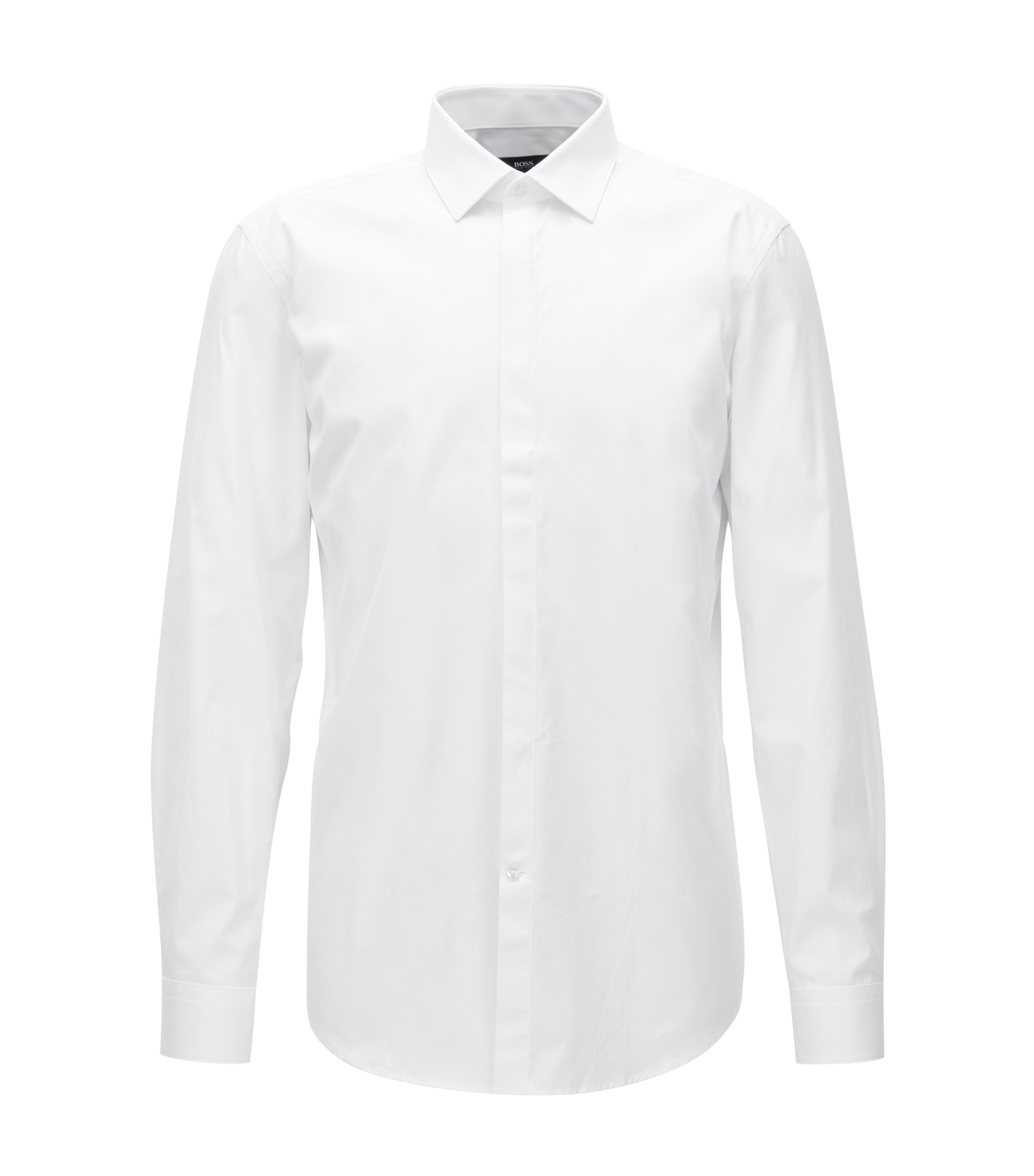 Slim-fit shirt in cotton poplin, White