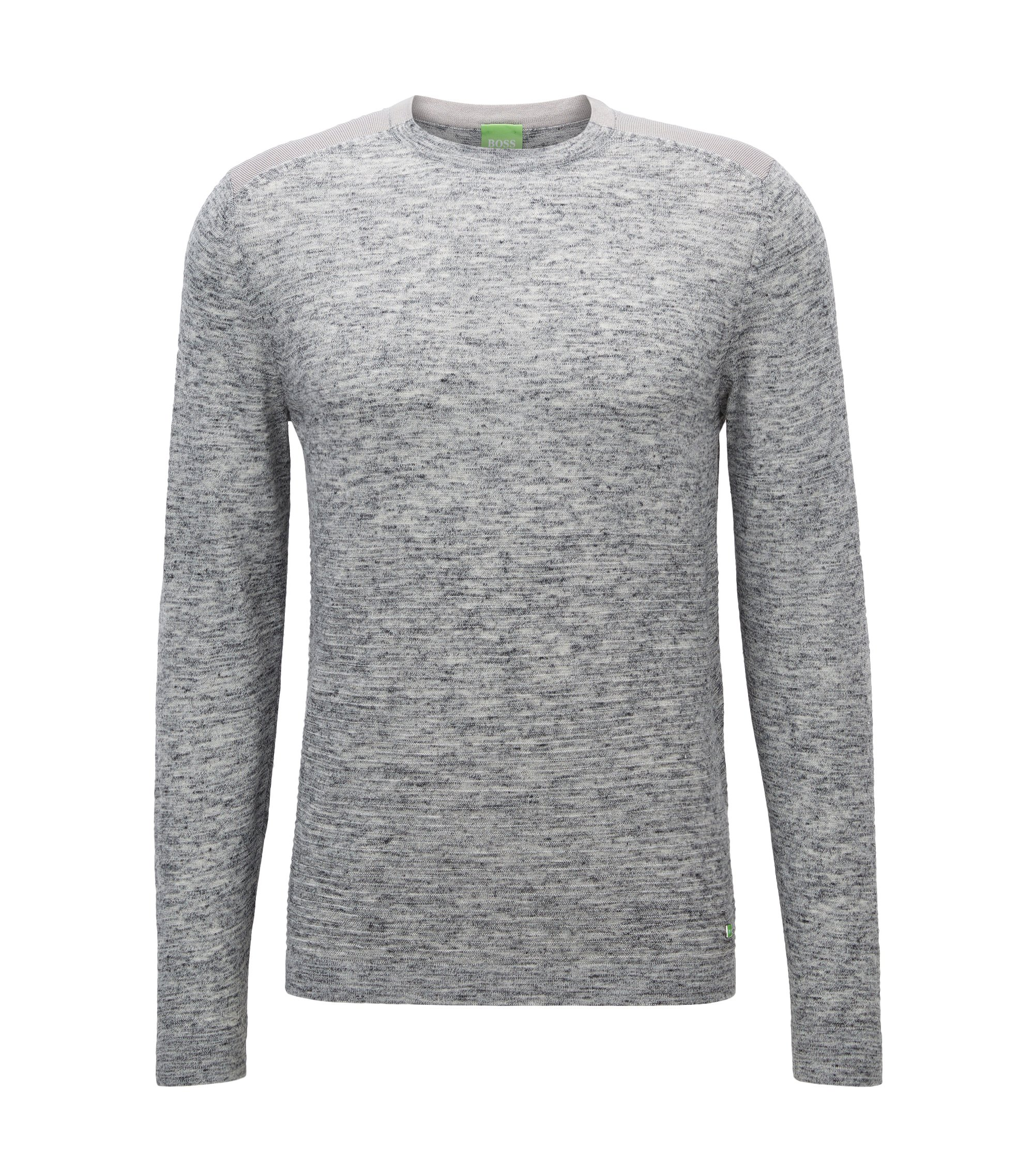 Crew-neck sweater in knitted fabric, Light Grey