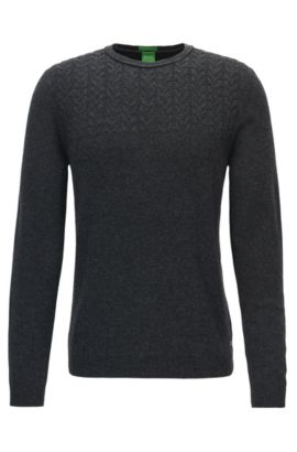 Crew-neck sweater in a modern cable knit, Anthracite