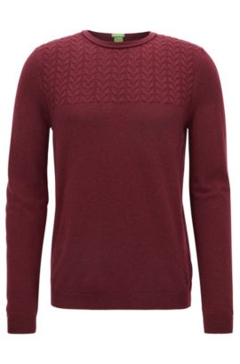 Gebreide trui in een modern kabelpatroon met ronde hals, Rood