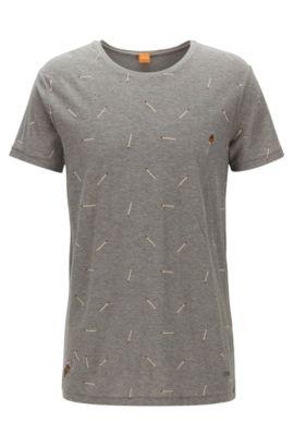 T-shirt relaxed fit in jersey slub yarn, Grigio