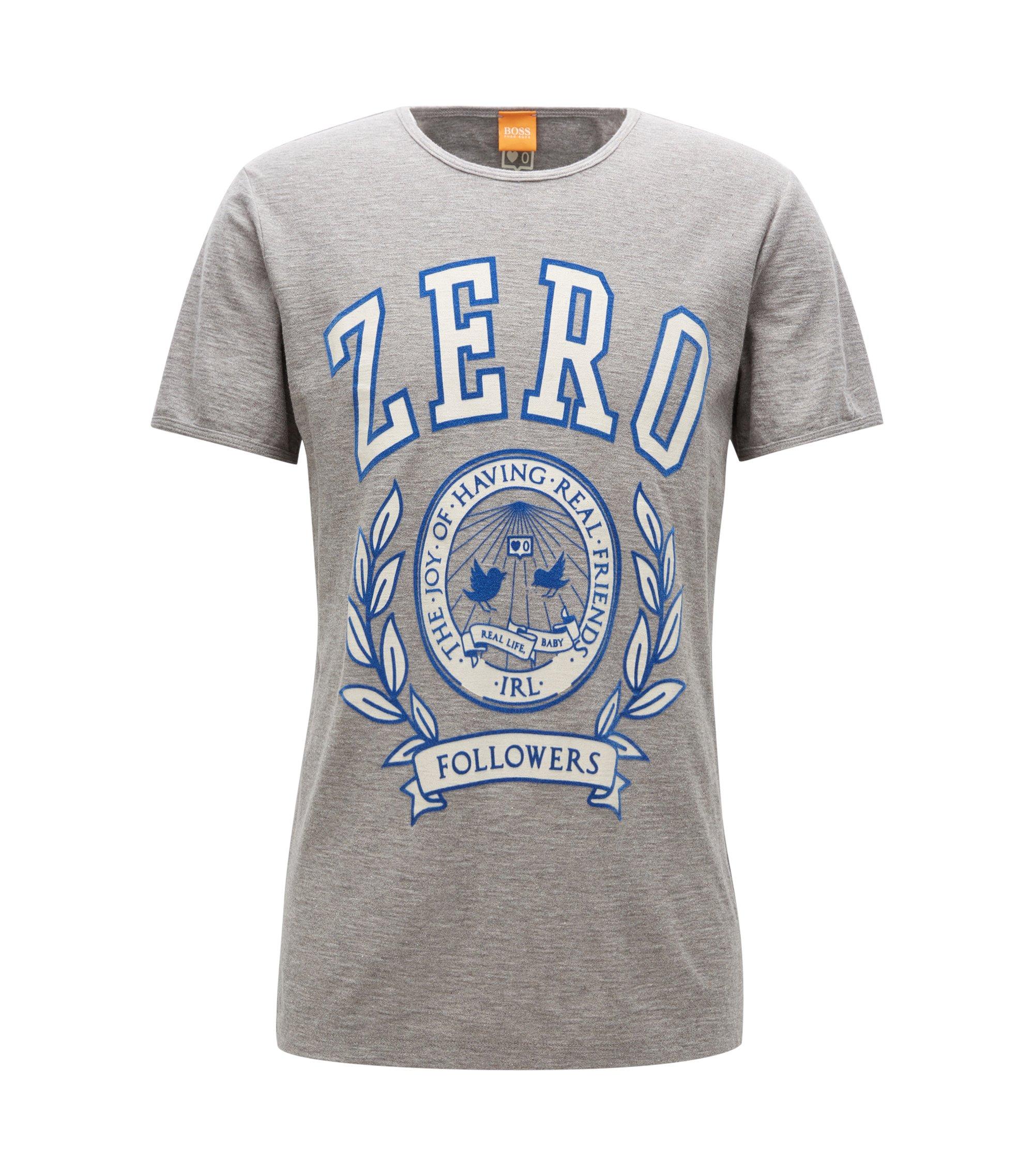 Regular-Fit T-Shirt aus strukturierter Baumwolle mit Aufdruck, Hellgrau