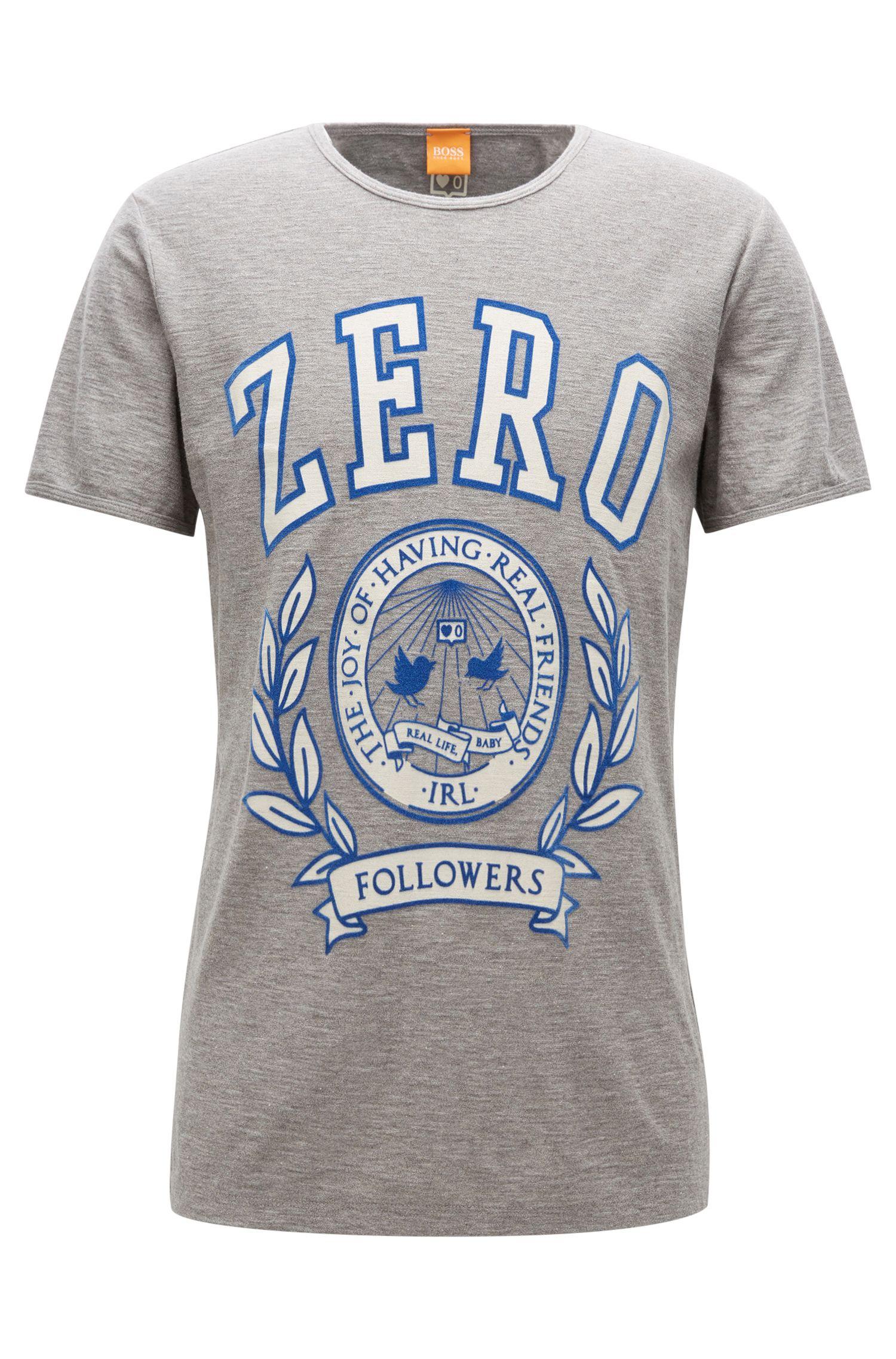 Regular-Fit T-Shirt aus strukturierter Baumwolle mit Aufdruck