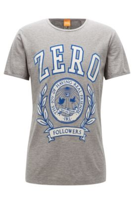 Camiseta estampada regular fit en hilo flameado, Gris claro
