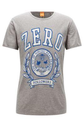 Regular-fit printed T-shirt in slub yarn, Light Grey