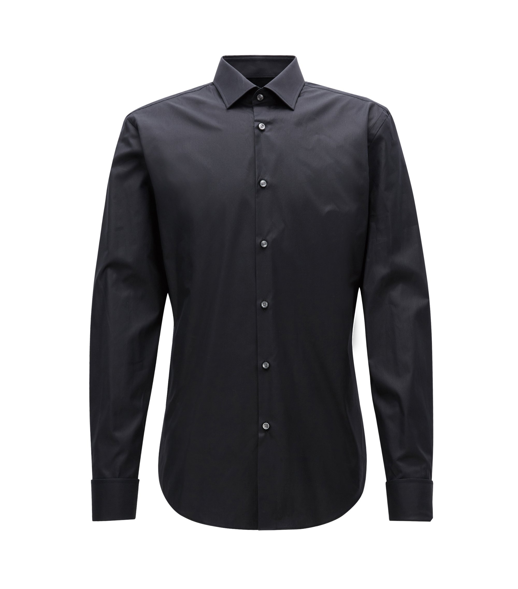 Slim-fit cotton twill shirt with double cuffs, Black