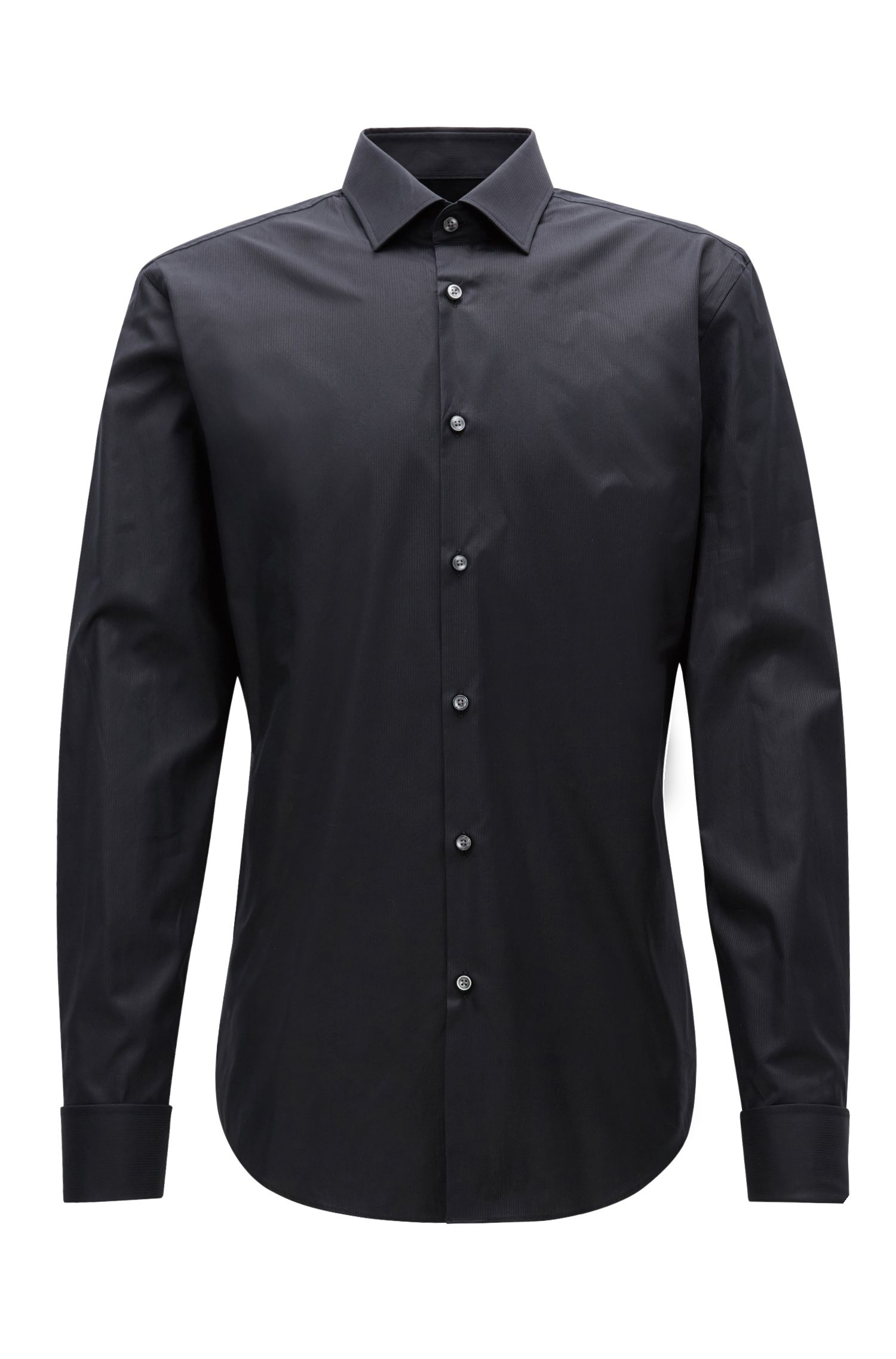 Slim-fit cotton twill shirt with double cuffs