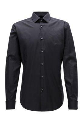 Camicia slim fit in twill di cotone con polsini doppi, Nero