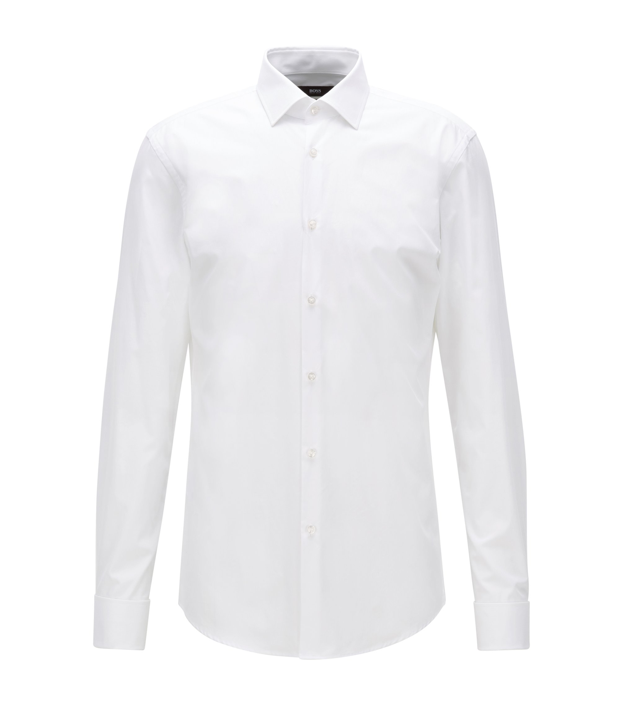 Slim-fit cotton twill shirt with double cuffs, White