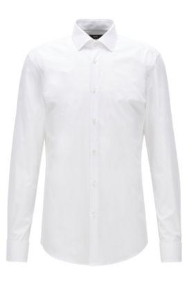 Chemise Slim Fit en twill de coton, à poignets mousquetaires, Blanc